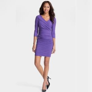 DVF Violet Purple Bentley Ruched 3/4 Sleeve Dress